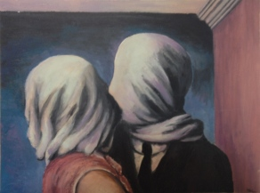 """""""Study of Rene Magritte's Les Amants"""" by Thomas Whitaker"""