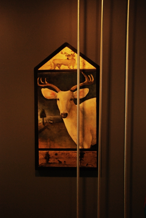 Arnot Art Museum Installation, Landscapes of Confinement. The white deer.