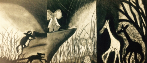 Nathan Riggs, charcoal drawing, triptych, courtesy of the artist
