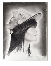 """Girl with Hat"" Charcoal Portrait C. Ryan"