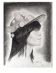"""""""Girl with Hat"""" Charcoal Portrait by Conor Broderick"""